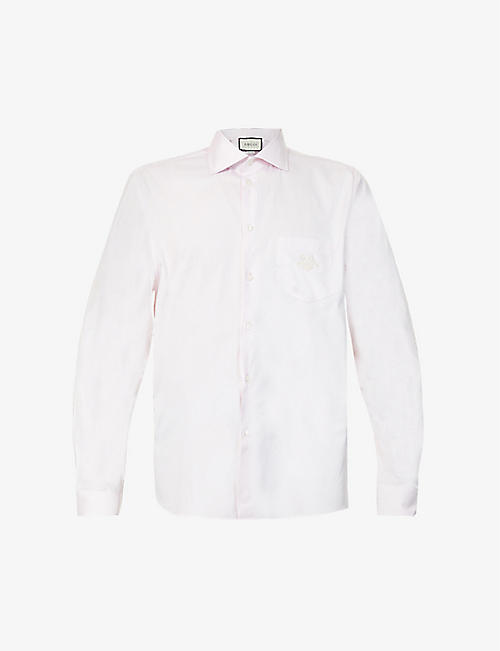 GUCCI: GG-embroidered cotton shirt