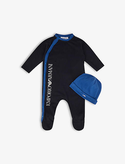 EMPORIO ARMANI: Logo-print cotton-blend baby-grow and hat set 1-6 months