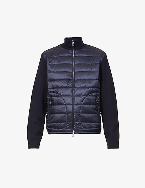 RALPH LAUREN PURPLE LABEL: Contrast-panel dropped-shoulder shell cardigan