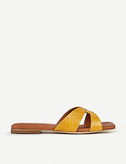 WHISTLES: Tabitha croc-embossed leather sliders