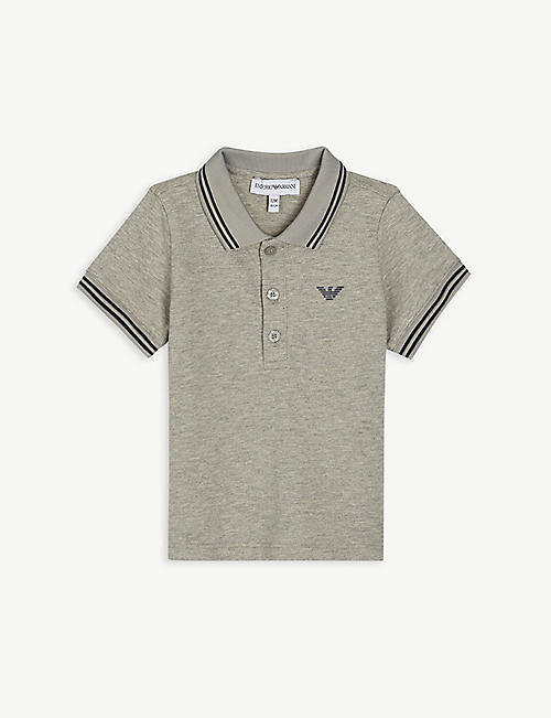 EMPORIO ARMANI: Striped-trim logo-patch cotton-blend polo shirt 6-36 months