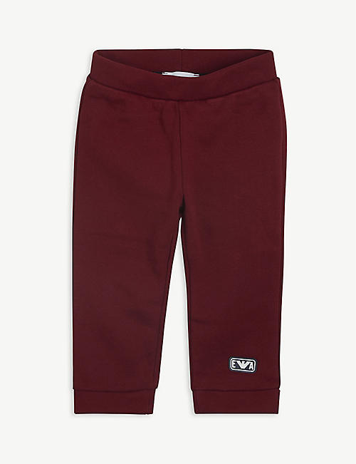 EMPORIO ARMANI: Rubber logo cotton jogging bottoms 6-36 months