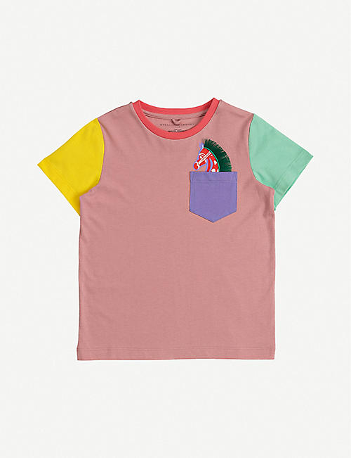 STELLA MCCARTNEY: Colour-blocked horse-print cotton-jersey T-shirt 4-12 years