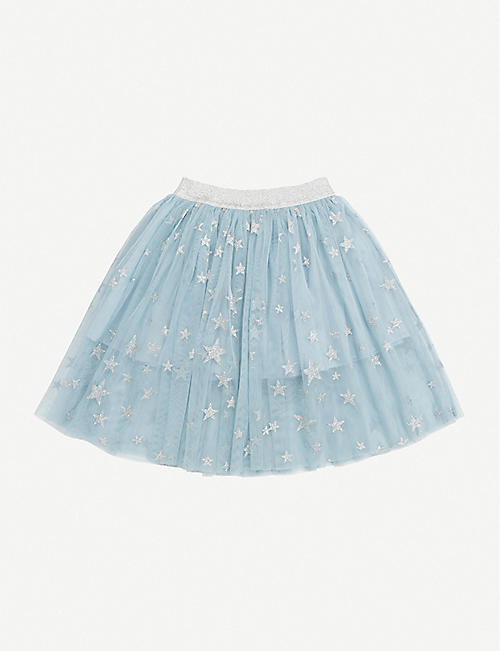 STELLA MCCARTNEY: Metallic star-print tulle mini skirt 4-12 years