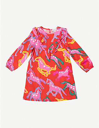 STELLA MCCARTNEY: Ruffled horse-print woven dress 4-16 years