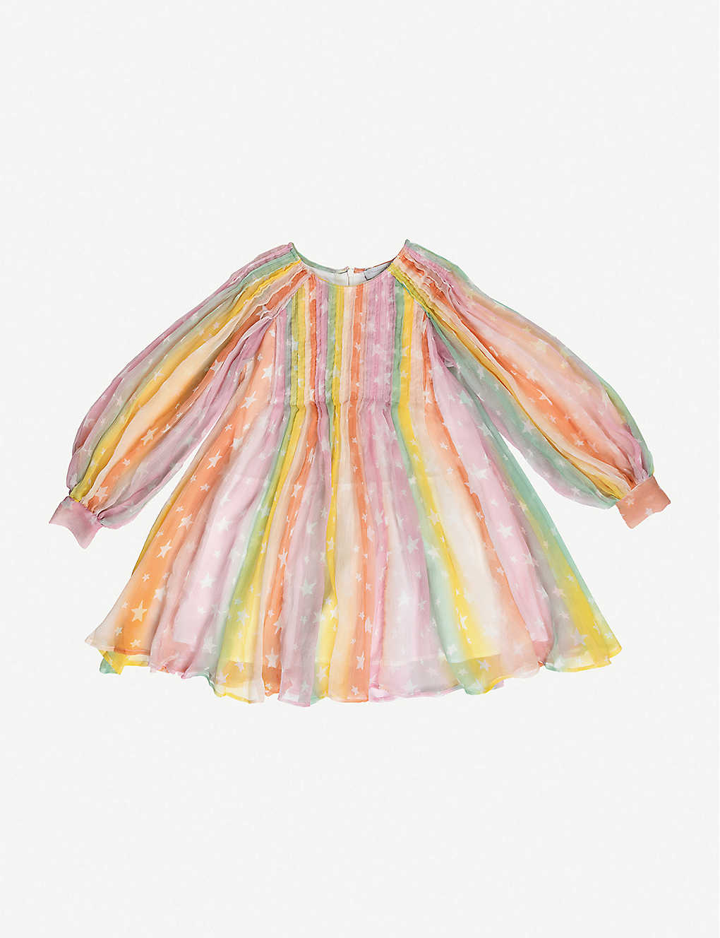 STELLA MCCARTNEY: Rainbow star-print silk dress 4-16 years