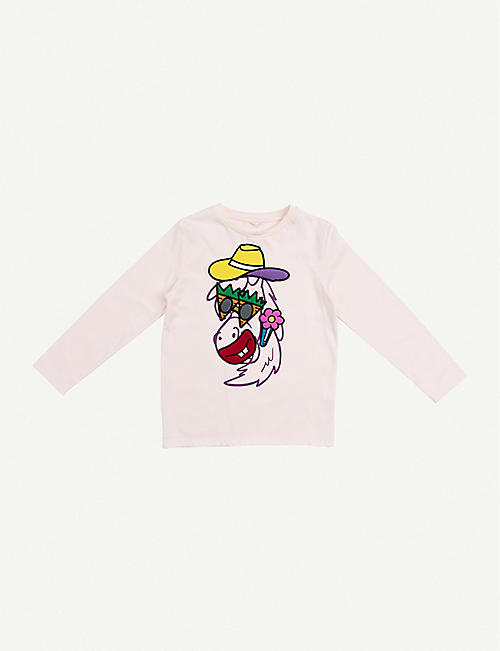 STELLA MCCARTNEY: Horse-print long-sleeved cotton-jersey T-shirt 4-12 years