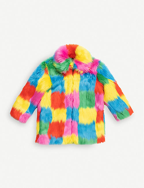 STELLA MCCARTNEY: Patchwork faux-fur coat 4-16 years
