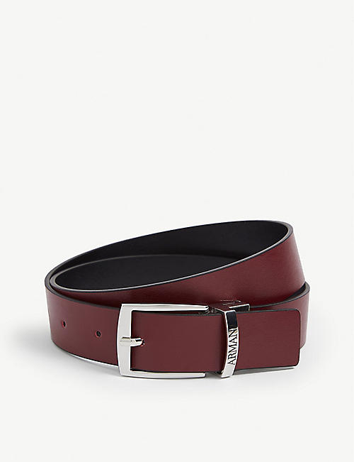 EMPORIO ARMANI: Kids reversible leather belt 7-14 years
