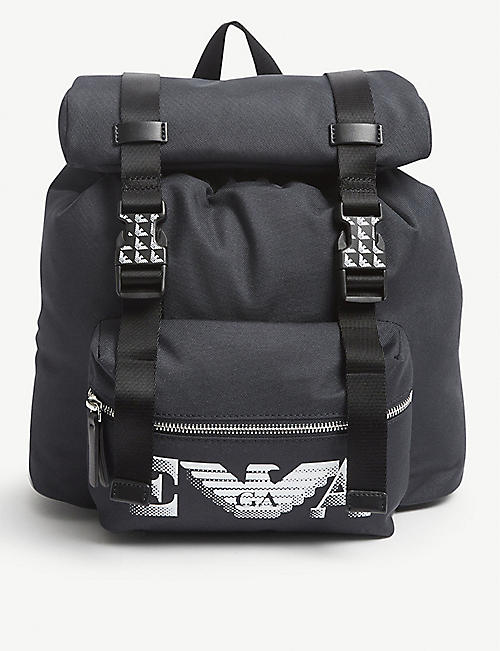 EMPORIO ARMANI: Kids logo-print nylon backpack