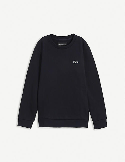 EMPORIO ARMANI: Logo-patch cotton-jersey sweatshirt 4-16 years