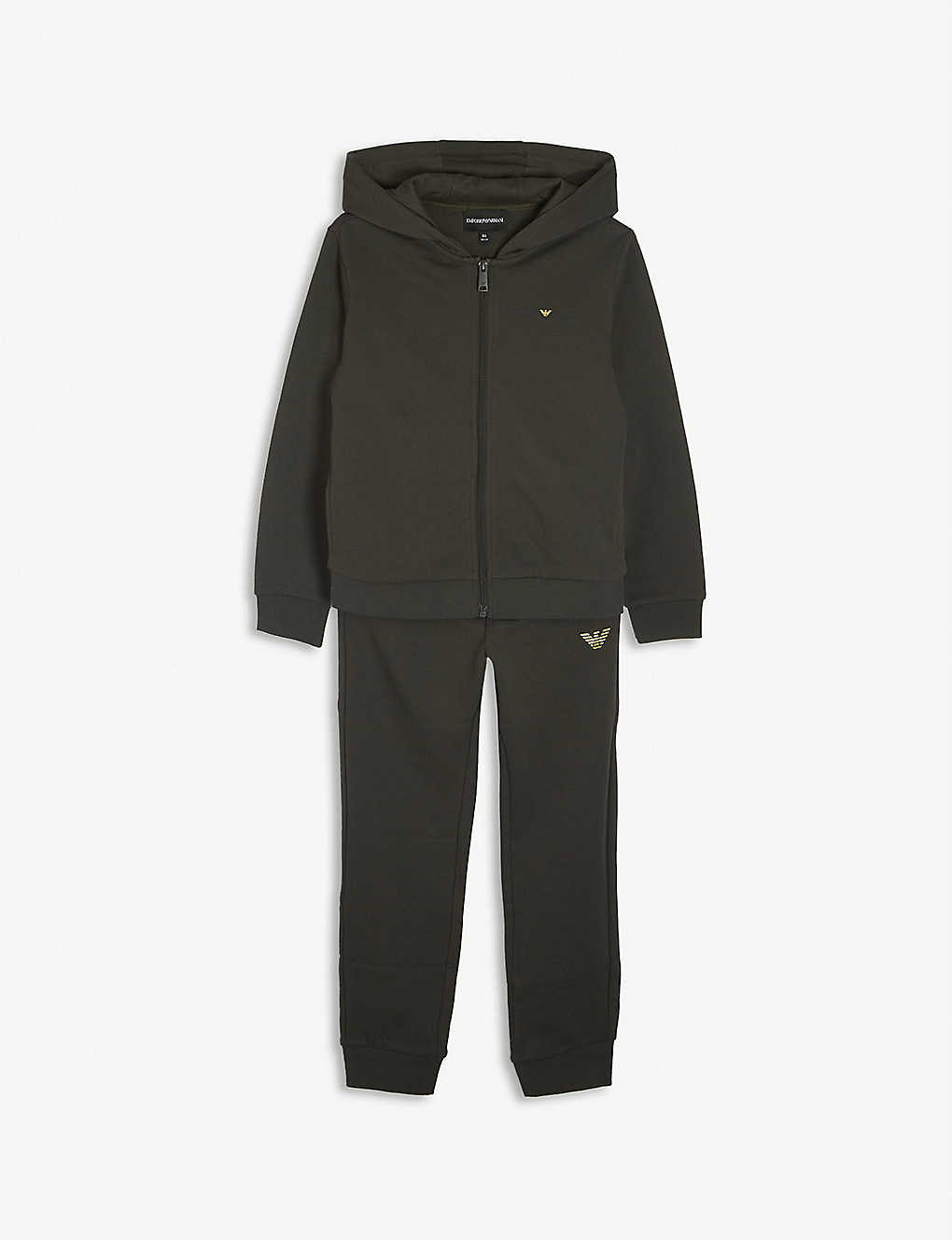 EMPORIO ARMANI: Logo-print cotton hooded tracksuit 4-16 years
