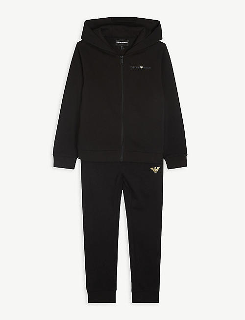 EMPORIO ARMANI: Logo-print hooded tracksuit 4-16 years