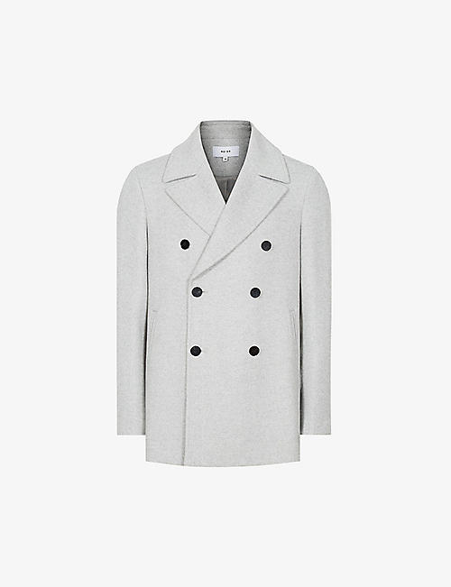 REISS: Hardwick wool-blend peacoat