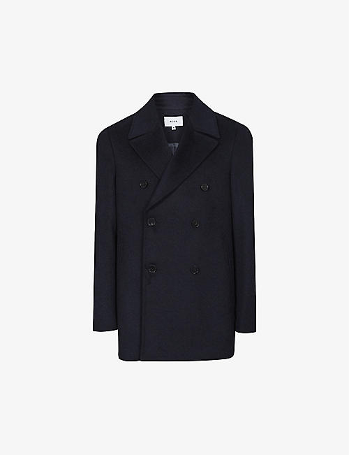REISS: Giovanni wool-blend peacoat