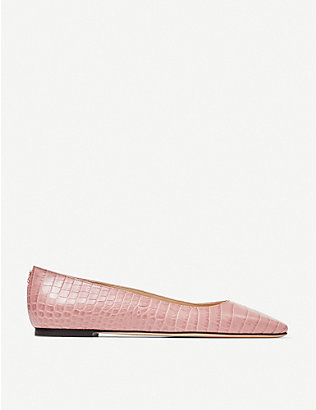 JIMMY CHOO: Mirele croc-embossed leather ballet flats