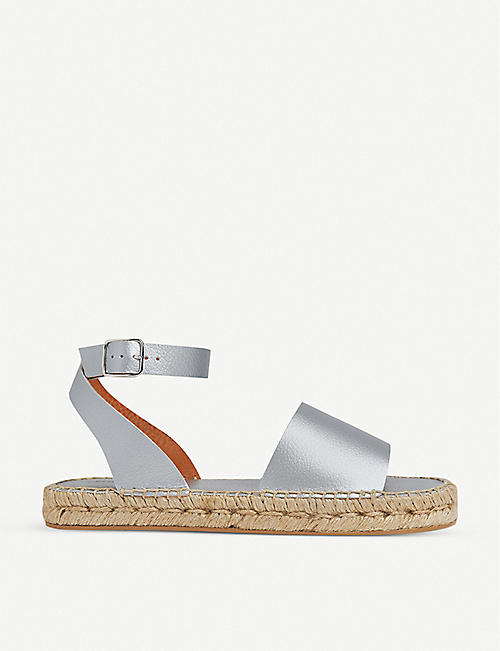 WHISTLES: Lula metallic leather espadrille sandals