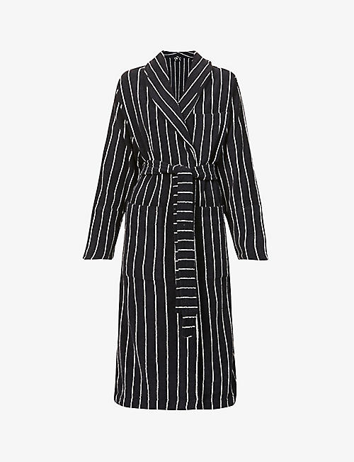 TEKLA: Classic striped organic-cotton towelling robe