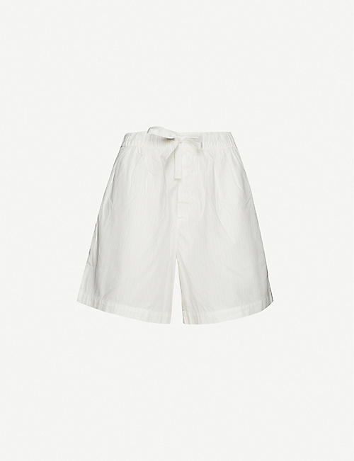 TEKLA: High-rise organic-cotton pyjama shorts