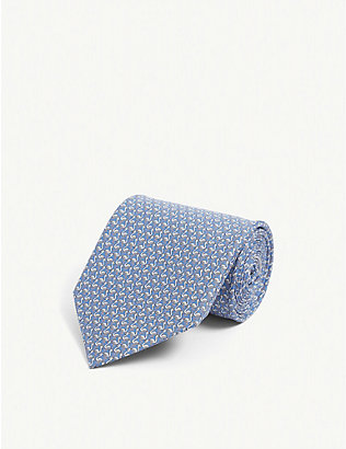 SALVATORE FERRAGAMO: Flamingo graphic-print silk tie