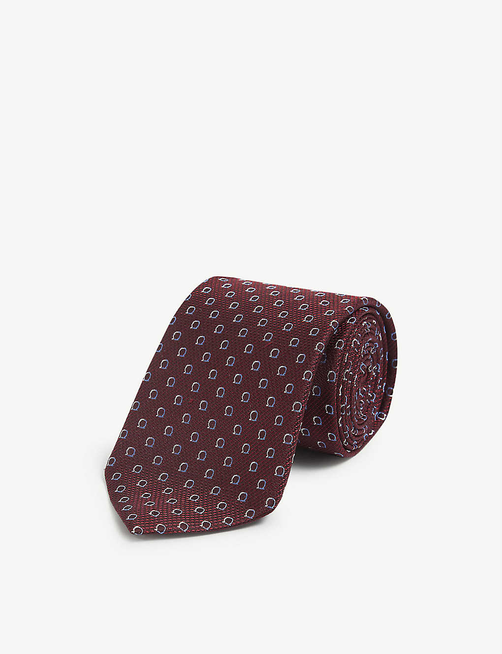 SALVATORE FERRAGAMO: Gianco-print two-tone silk tie