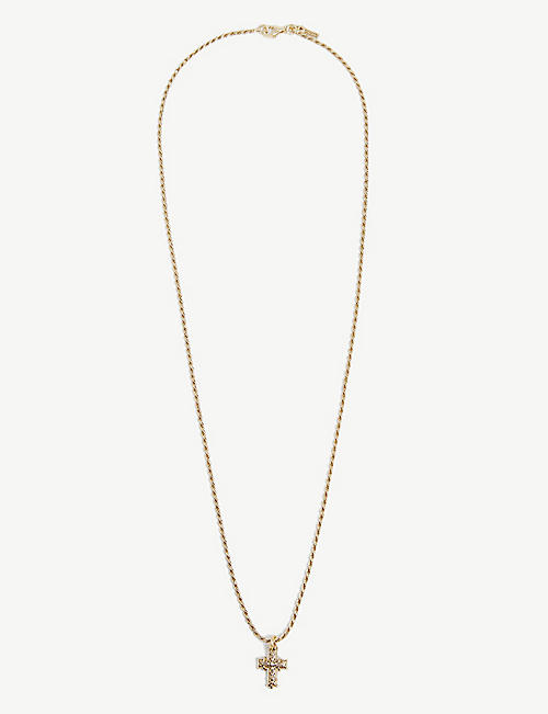 EMANUELE BICOCCHI: Gold-plated sterling silver mini cross pendant necklace