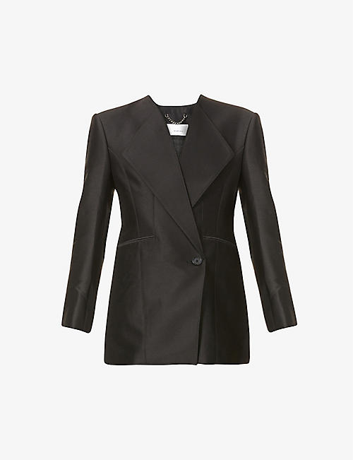 AKIRA NAKA: V-neck wool and silk-blend blazer