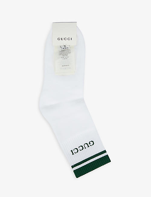 GUCCI: Logo-print cotton-blend socks