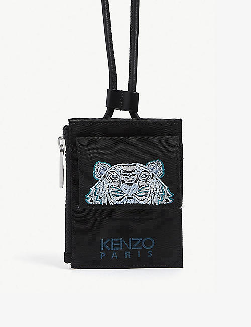 KENZO: Tiger-embroidered nylon wallet-on-strap