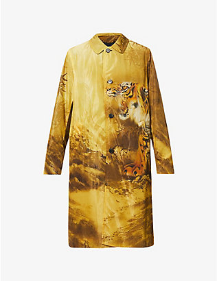 DRIES VAN NOTEN: Graphic-print shell coat