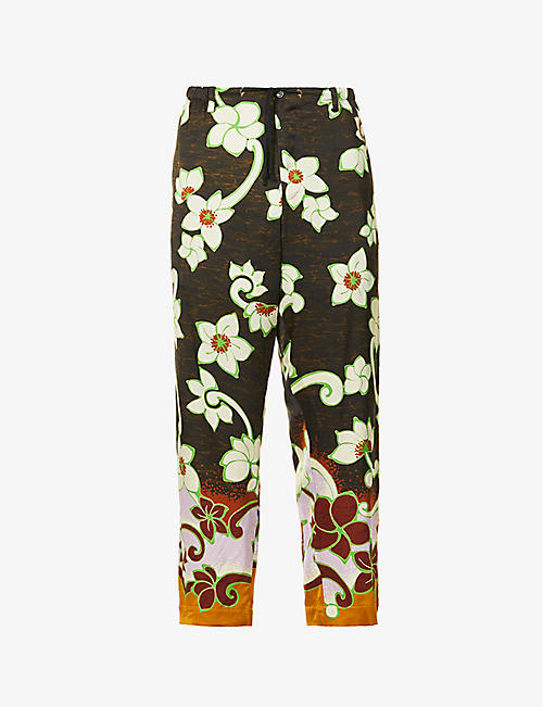 DRIES VAN NOTEN: Pienny floral-print woven trousers