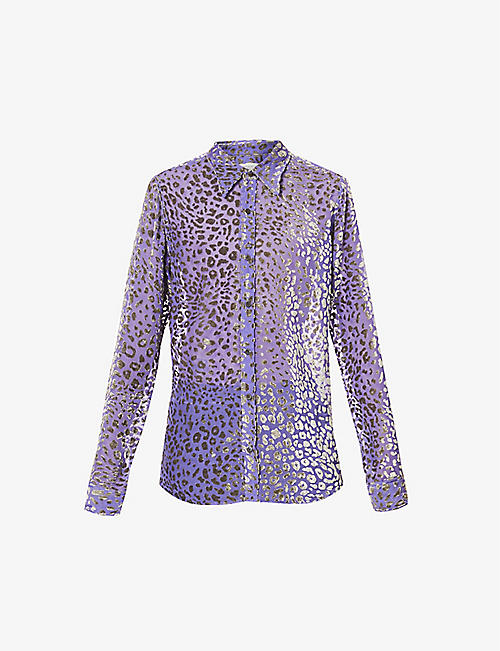 DRIES VAN NOTEN: Leopard-print relaxed-fit crepe shirt
