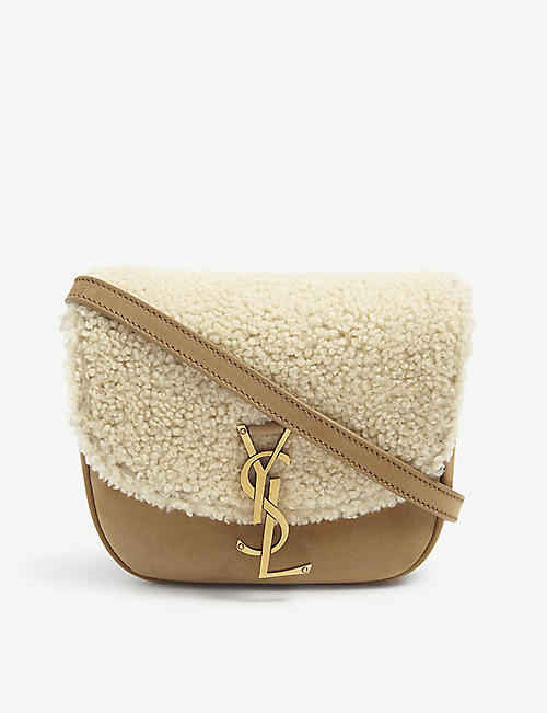 SAINT LAURENT: Kaia shearling and leather satchel