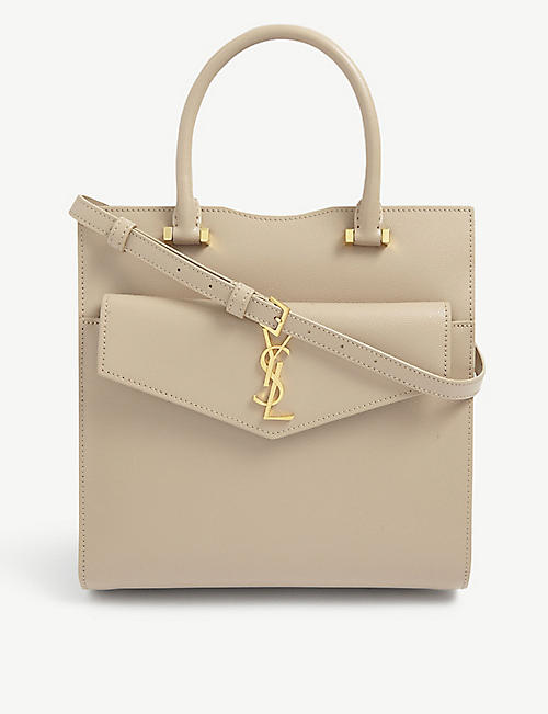 SAINT LAURENT: Uptown small monogram leather tote bag