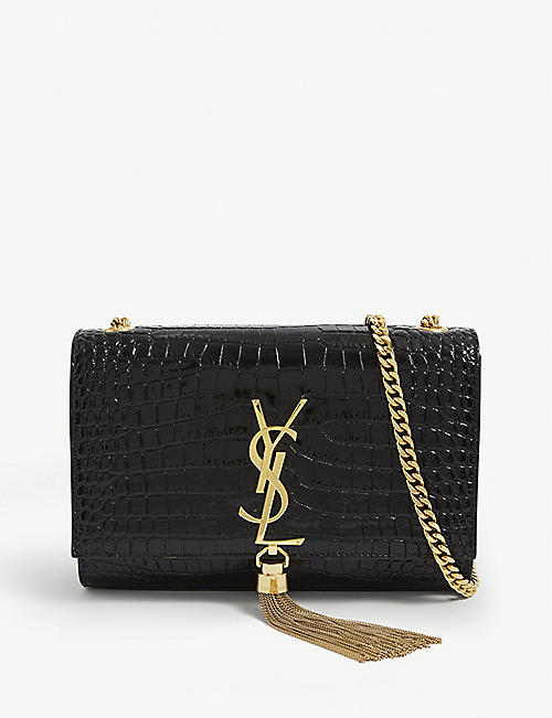SAINT LAURENT: Kate small monogram crocodile-embossed leather wallet-on-chain