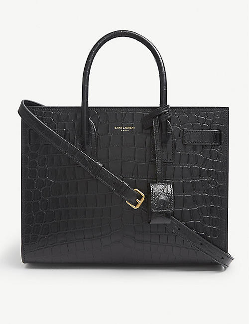 SAINT LAURENT: Baby Sac de Jour croc-embossed leather tote bag