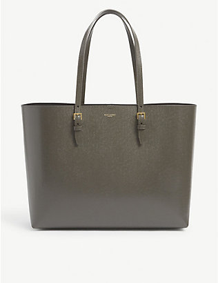 SAINT LAURENT: Buckle logo-print leather tote bag