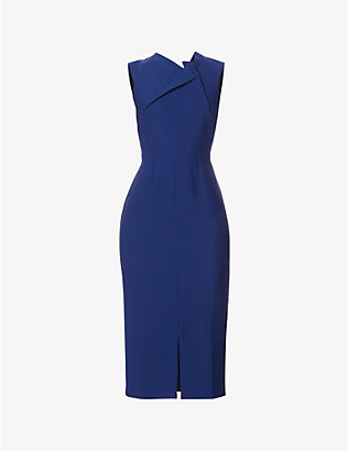 ROLAND MOURET: Tikal sleeveless crepe midi dress
