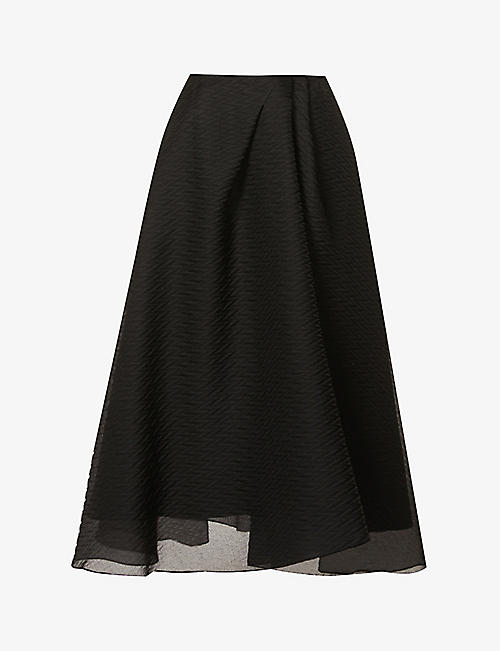 ROLAND MOURET: Mulligan high-waist silk-blend maxi skirt