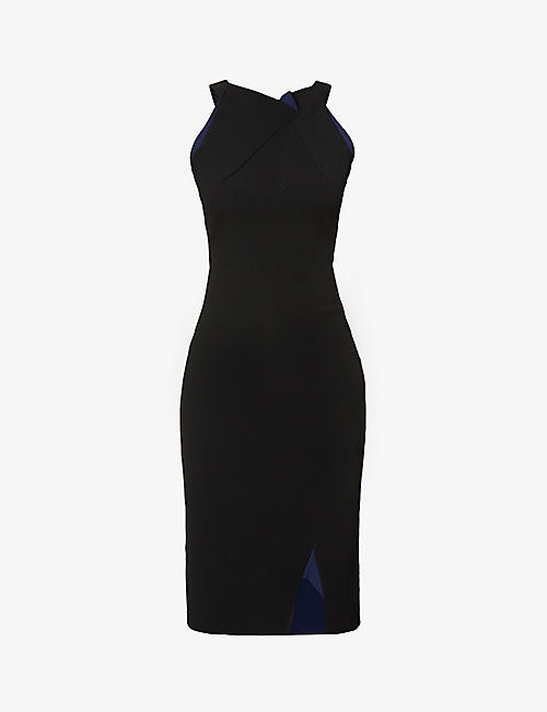ROLAND MOURET: Klint sleeveless stretch-crepe midi dress