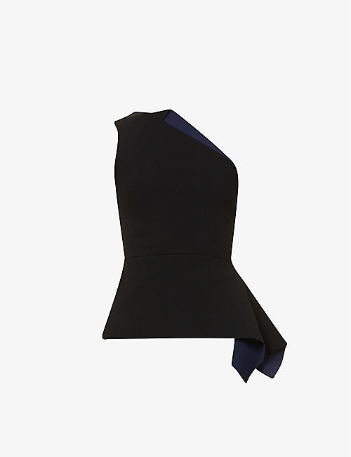 ROLAND MOURET: Olympia asymmetric stretch-knit top