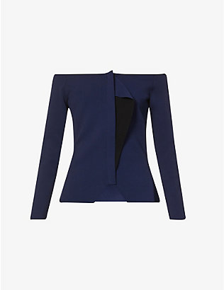 ROLAND MOURET: Fuji off-the-shoulder stretch-knit jacket