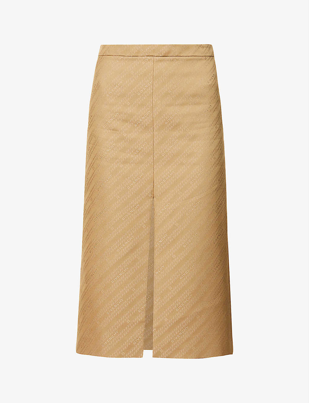GIVENCHY: Brand-patterned high-rise cotton-blend skirt