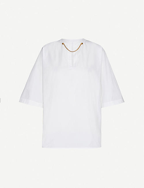 GIVENCHY: Chain detail cotton top