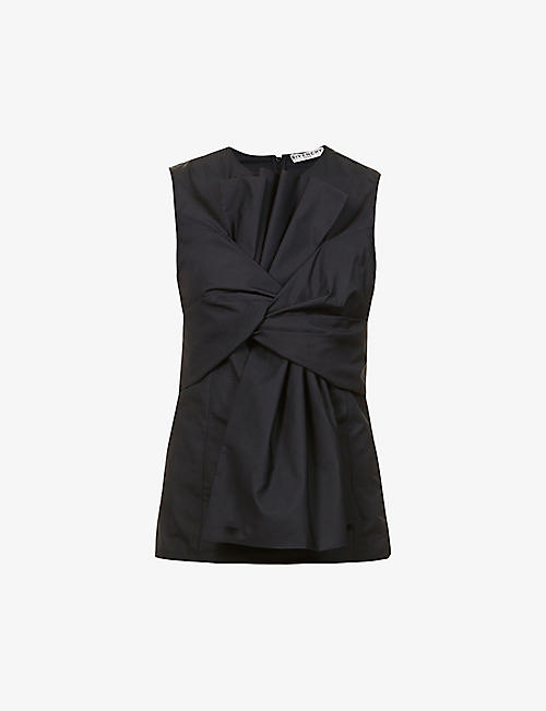 GIVENCHY: Draped cotton-poplin vest