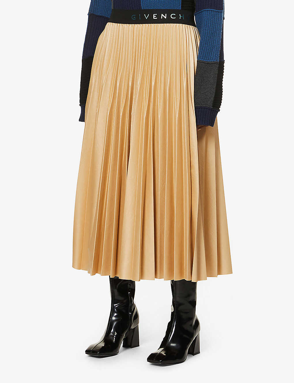 GIVENCHY: Pleated high-waisted faux-leather midi skirt