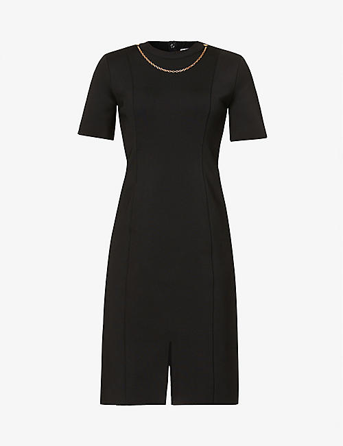 GIVENCHY: Chain-embellished woven midi dress