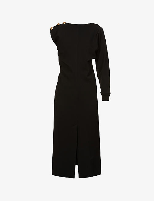 GIVENCHY: One-sleeve button-embellished stretch-knit midi dress