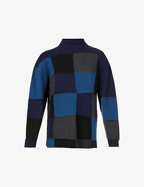 GIVENCHY: Oversized patchwork cashmere jumper