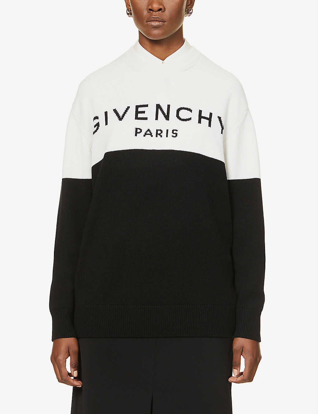 GIVENCHY: Brand-pattern dropped-shoulders cashmere jumper